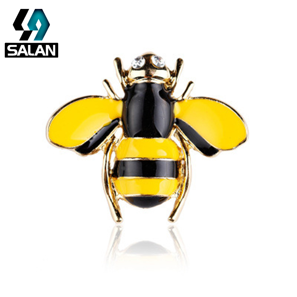 Korean version of the fashionable sweet diamond small bee brooch men and women braised flower collar jacket accessories pin pin