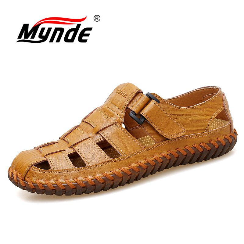 MYNDE Men Cow Leather Sandals Outdoor 2019 Summer Handmade Men Shoes Men Breathable Casual Shoes Footwear Walking Sandals(China)