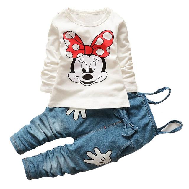 Los niños del otoño del resorte niños personaje de dibujos animados de moda Camiseta ocasional pantalones generales pantalones vaqueros princesa minnie que arropan las muchachas