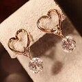 2015 Nueva Moda Pendientes Joyería Caliente Venta Hollow El Amor Del Corazón Fine Circón Pendientes Para Mujer Accesorios Mejor Regalo XY-E193