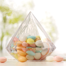 1pc Clear Diamond Shape Jewelry Ring Box Plastic Wedding Decoration Candy Flower Birthday Party Anniversary Favor Gift Boxes