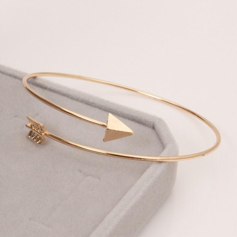 Открытые панковские регулируемые браслеты-манжеты со стрелкой для женщин, модные простые готические наручные браслеты в виде перьев, Подарочные ювелирные изделия - Окраска металла: LA152 Gold