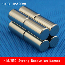 10PCS N45 N52 cylinder round magnet D6*20mm Super powerful rare earth neodymium magnets diameter 6X20mm