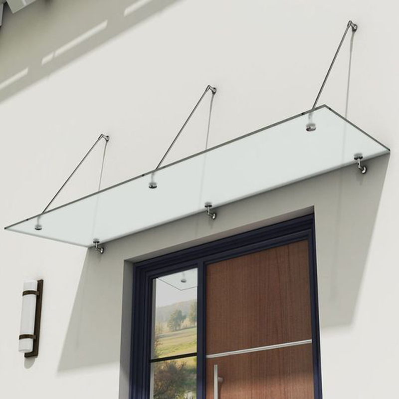 KINMADE Modern Two Rods Three Rods Laminated Tempered Glass Door Canopy Porch Awning Brackets Stainless Steel