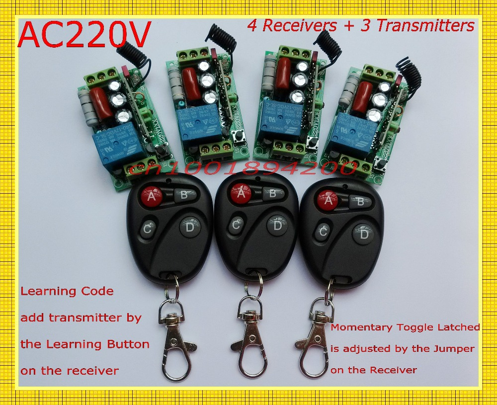 Remote Control Switches AC220V 1CH Lighting Switches LED Lamp ON OFF Remote Controller 4Receiver 3Transmitter 315