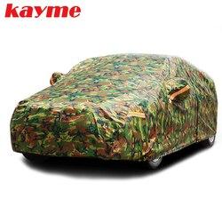 Kayme للماء التمويه سيارة يغطي الشمس في الهواء الطلق غطاء للحماية ل سيارة العاكس الغبار المطر الثلج واقية suv سيدان كامل