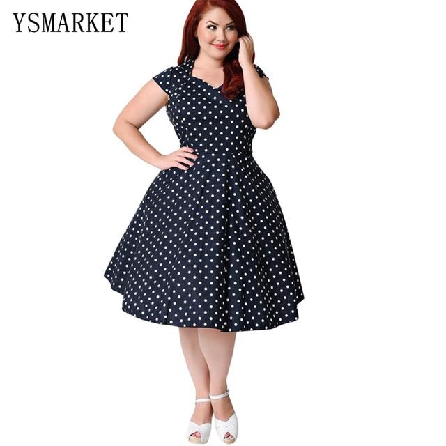 4850a6f4c278 Women Summer Print Party Vintage Midi Dress Black White Polka Dot  Rockabilly Plus Size A Line Swing Vestidos 6XL Dresses E104