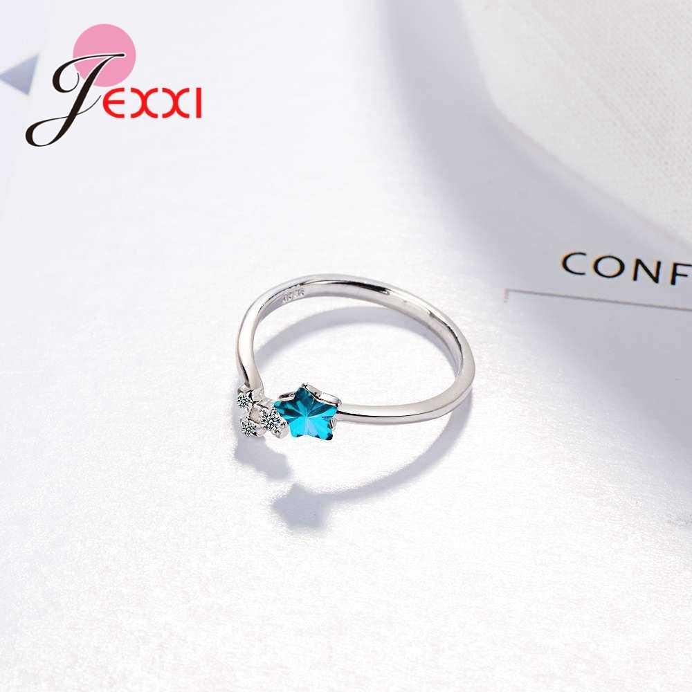 925, 100%, Стерлинговое Серебро, кубический цирконий для женщин, девочек, хит продаж, Открытое кольцо, блестящий звездный узор, юбилей, подходящий стиль