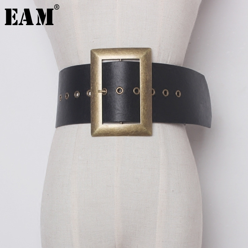 [EAM] 2018 Fashion New Metal Big Buckle PU Leather Exceed Wi