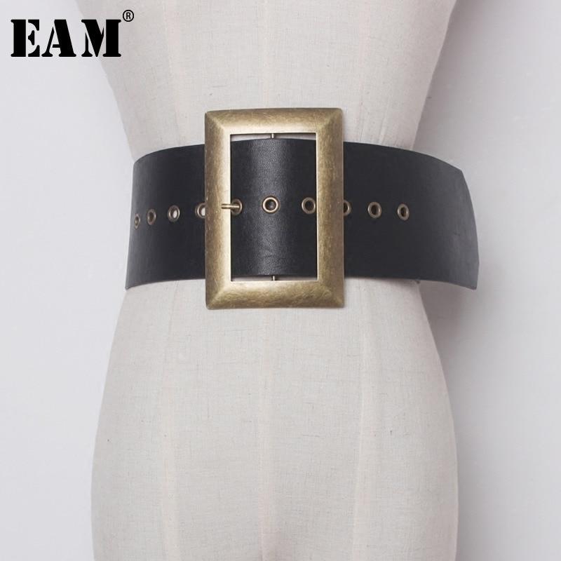 [EAM] 2020 Fashion New Metal Big Buckle PU Leather Exceed Width Belt Woman Retro All-match Solid Black Belt Women YA59901