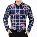 2016 New Style Men's Shirt Fashion Plaid Flower Long Sleeve Shirt Men Casual Mens Social Shirt Men Business Plus Size Shirt 7XL