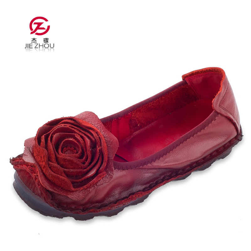 Fashion Flower Design Round Toe Solid Color Flat Shoes Vintage Genuine Leather Women Flats Handmade Women's shoes-in Women's Flats from Shoes    1