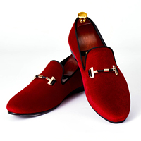 Harpelunde Italian Men Dress Shoes Buckle Strap Wedding Shoes Red Velvet Loafers Size 7 14