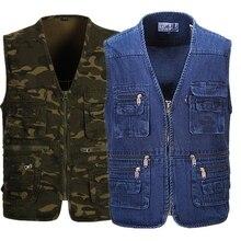 b men Oversize S-5XL Denim Vests Men Cotton Multi Pocket Jean Jacket Male Brand Military Waistcoat masculina jaquetas
