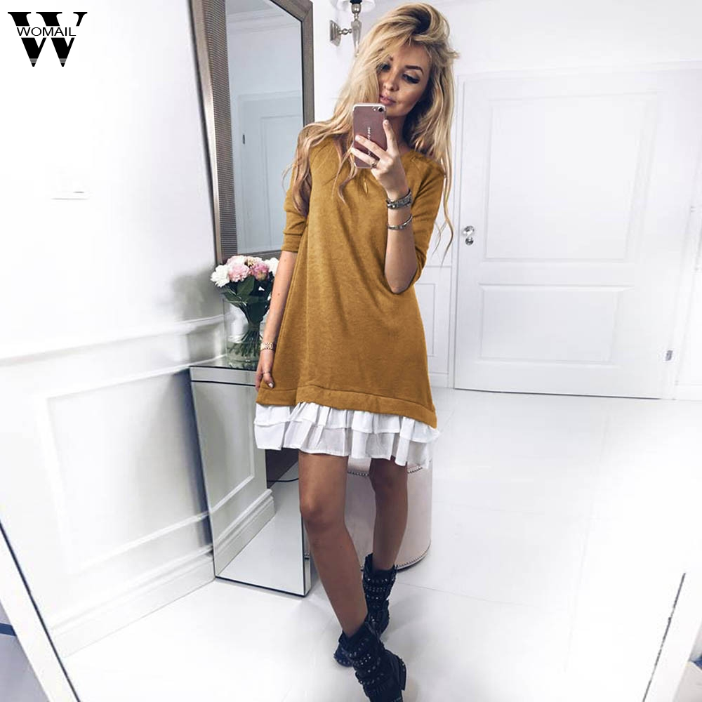 WOMAIL winter dress natural 2018 new arrivals regular pullover dress woman knitwear winter long sleeve For Ladies