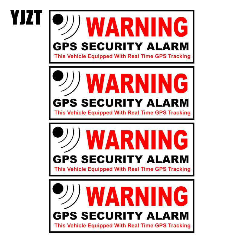 YJZT 10.5CM*3.8CM 4X Car Sticker WARNING GPS SECURITY ALARM Warning Mark Reflective Decal Motorcycle Parts C1-7580