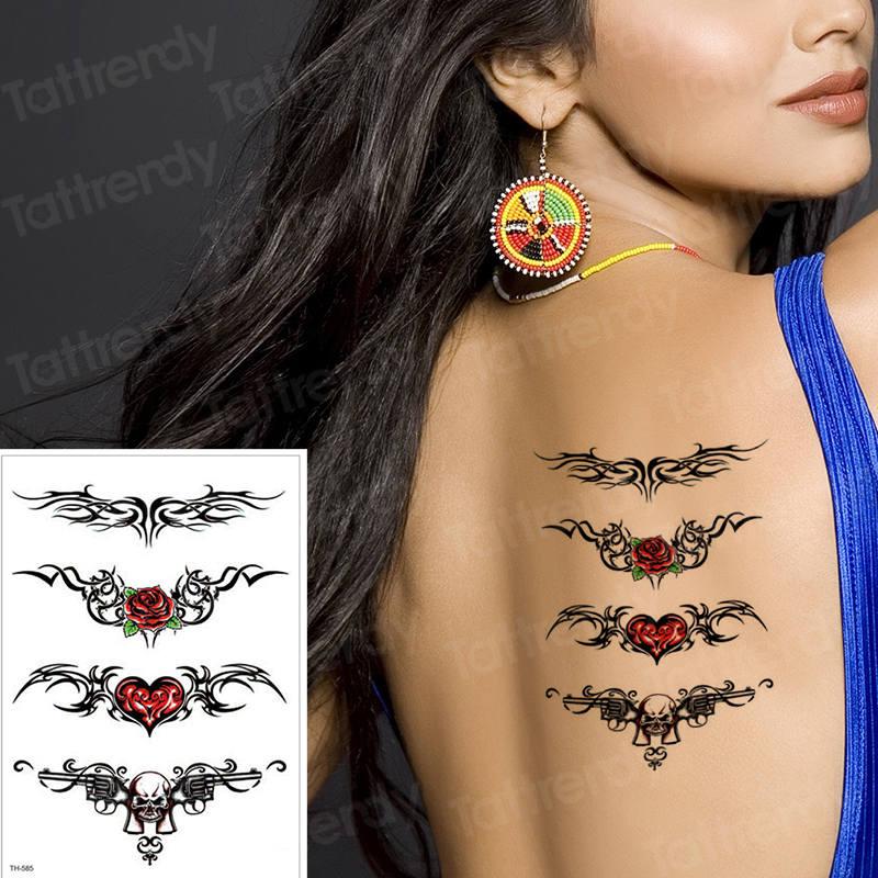 Waterproof Temporary Tattoo Sticker Sexy Waist Rose Fake Tattoo For Girls Women Sea Bikini Tattoo Love Tribal Chest Tatoo Water