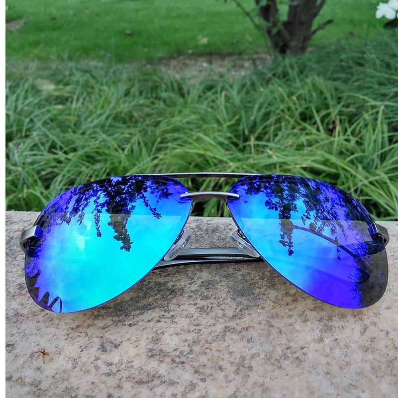 LVVKEE 2018 Forró klasszikus férfiak Polarizáló napszemüveg vezetés nélküli Rimless napszemüveget női alumínium magnéziumkeretű férfi napszemüveg GG