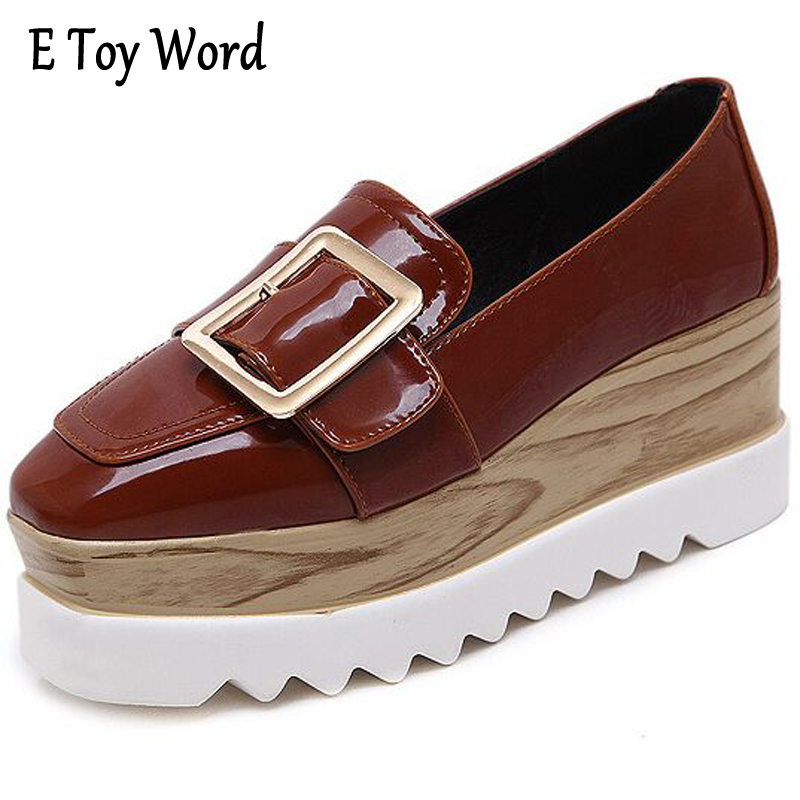E TOY WORD Spring Women Platform Shoes Woman Brogue Patent Leather Flats Lace Up Footwear Female Flat Oxford Shoes Women 35-40 qmn women crystal embellished natural suede brogue shoes women square toe platform oxfords shoes woman genuine leather flats