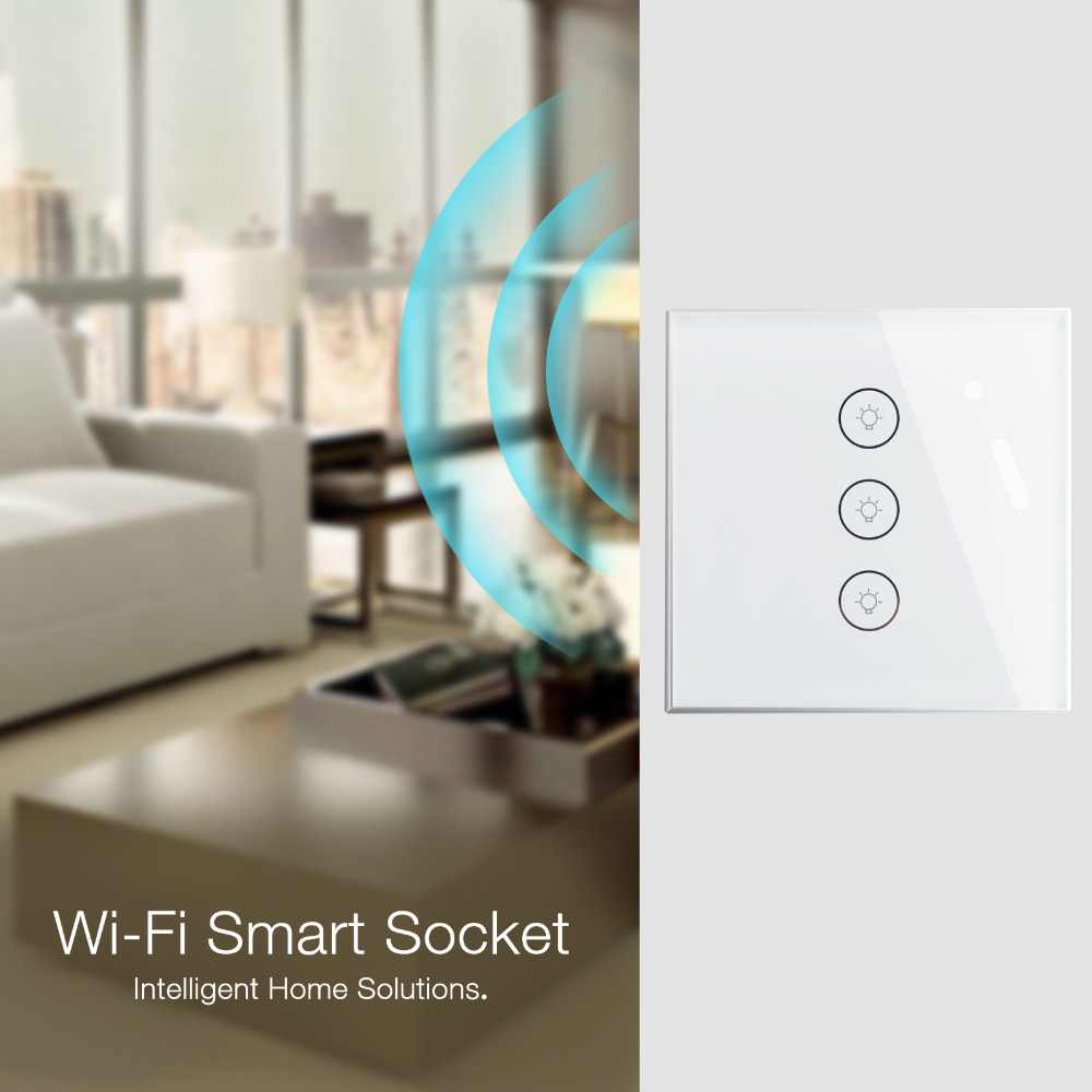 Mini interruptor de pared inteligente Wifi Panel de vidrio europeo 2 bandas aplicación móvil Control remoto funciona con Amazon Alexa Google Home no Hub requiere