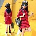 Ребенок с длинными рукавами платья осень-весна капюшоном письмо печати повседневная детская одежда большая девочка полосой Толстовки и Кофты