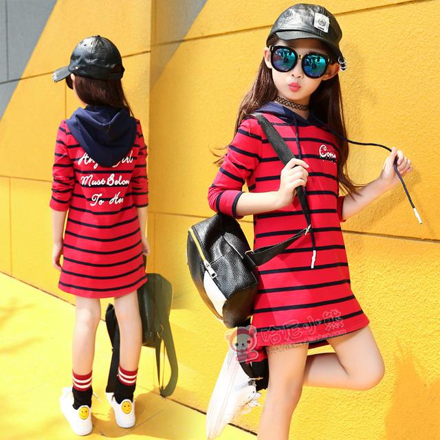 Niño vestido de otoño primavera de manga larga con capucha carta imprimir casual ropa para niños grandes niña raya Camisas y Sudaderas