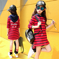 child long-sleeve dress autumn spring hooded letter print casual children's clothing big girl stripe Hoodies & Sweatshirts