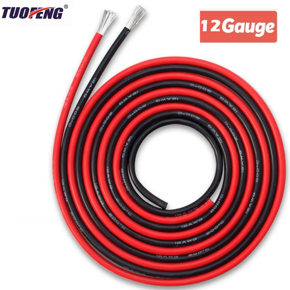 Electrical Wire 12 AWG Silicone Wire 12 Gauge Hook Up wire Cables Black And Red Soft and Flexible of Tinned copper wire