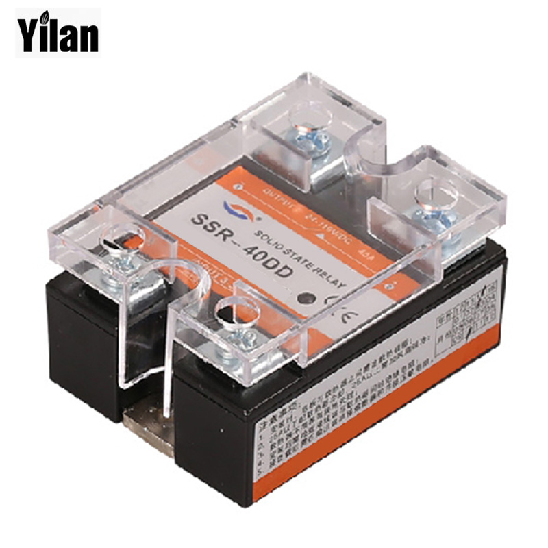 SSR -40DD 40A DC control DC SSR white shell Single phase Solid state relay 10A input 3-32V DC output 5~60V DC 20dd ssr control 3 32vdc output 5 220vdc single phase dc solid state relay 20a yhd2220d