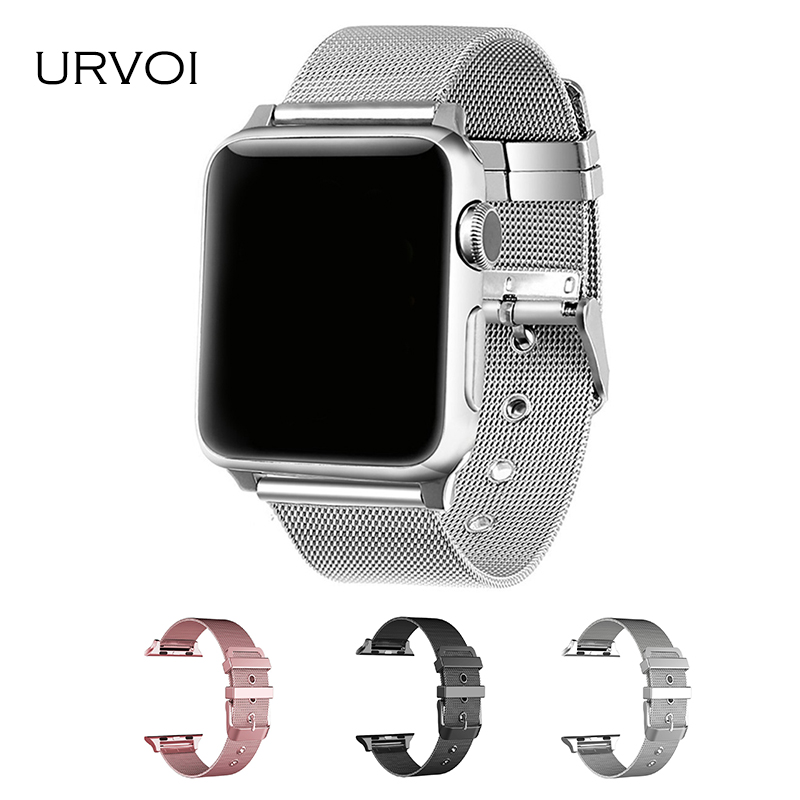 URVOI milanese band for apple watch Series 1 2 3 link bracelet strap for iwatch stainless steel buckle wrist with adapters 38 42 крышка для винилового проигрывателя t a h 1260 transparent
