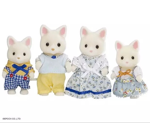 silk cat  family original mini size Sylvanian Families Figures mini figure Anime Cartoon figures, Toys Child Toys gift tt03 sylvanian families mouse family 4pcs parents