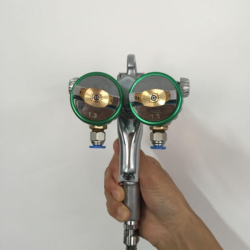 SAT1189 glue spray gun high pressure gun air spray paint gun dual nozzle hvlp silver mirror paint