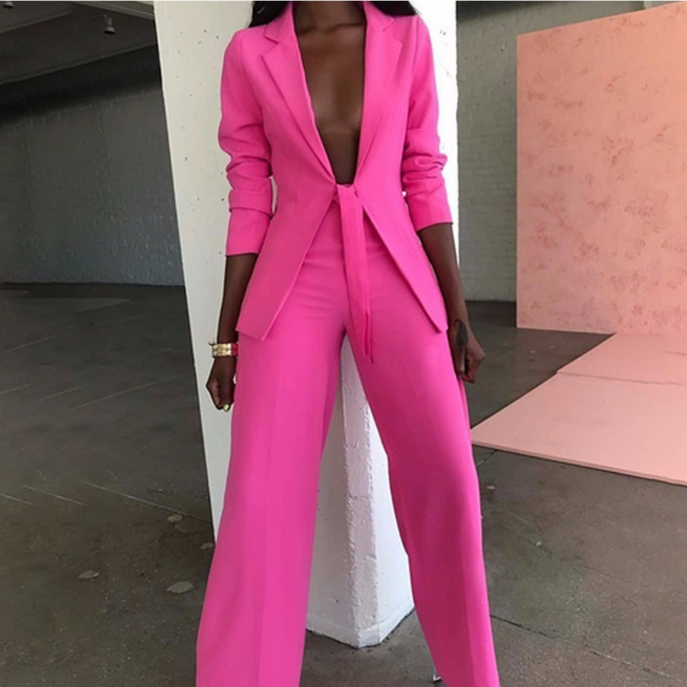 Missord 2019 Sexy Blazer And Pants  Two Pcs Set Bow Ladies Elegant Female Formal Women Suits Jumpsuit FT19445