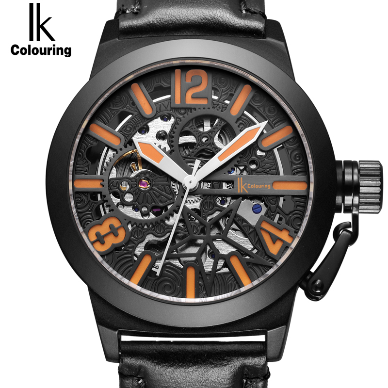 IK Star Totem Automatic Mechanical Watches Men Brand Luxury Genuine Leather Transparent Hollow Skeleton Watch Relogio Masculino gucamel automatic mechanical watch hollow out design genuine leather band for men