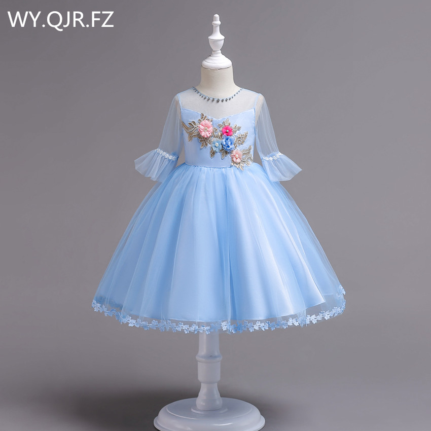 BH726B#Ball Gown Blue   Flower     Girl     Dresses   European American short-sleeved embroidered children's princess   dress   cheap wholesale