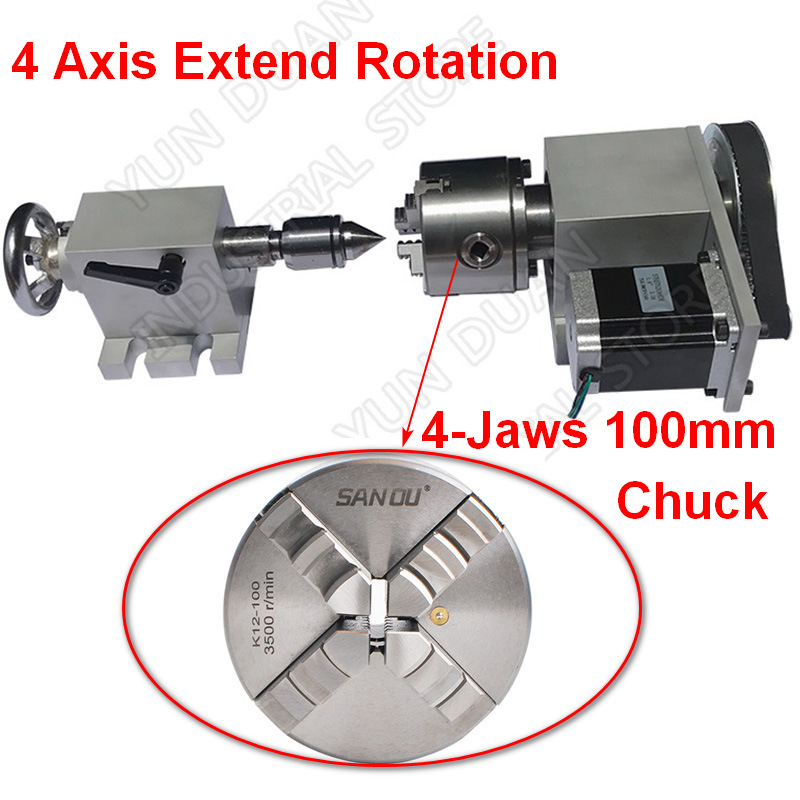 4 Axis Rotation A Axis Extend Rotary 4 Jaw 100mm Chuck Nema23 Motor MT2 Tailstock for