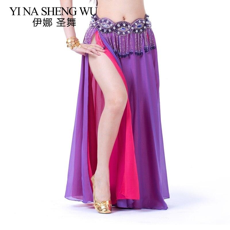 Belly Dance Costume Skirt Performance Belly Dance 2-side Slits Skirt Sexy Women Oriental Belly Dance Skirt Professional No Belt