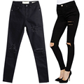 2017 New Arrival Skinny Women Jeans High Waist Pencil Pants Slim Ripped Black Jeans Trousers