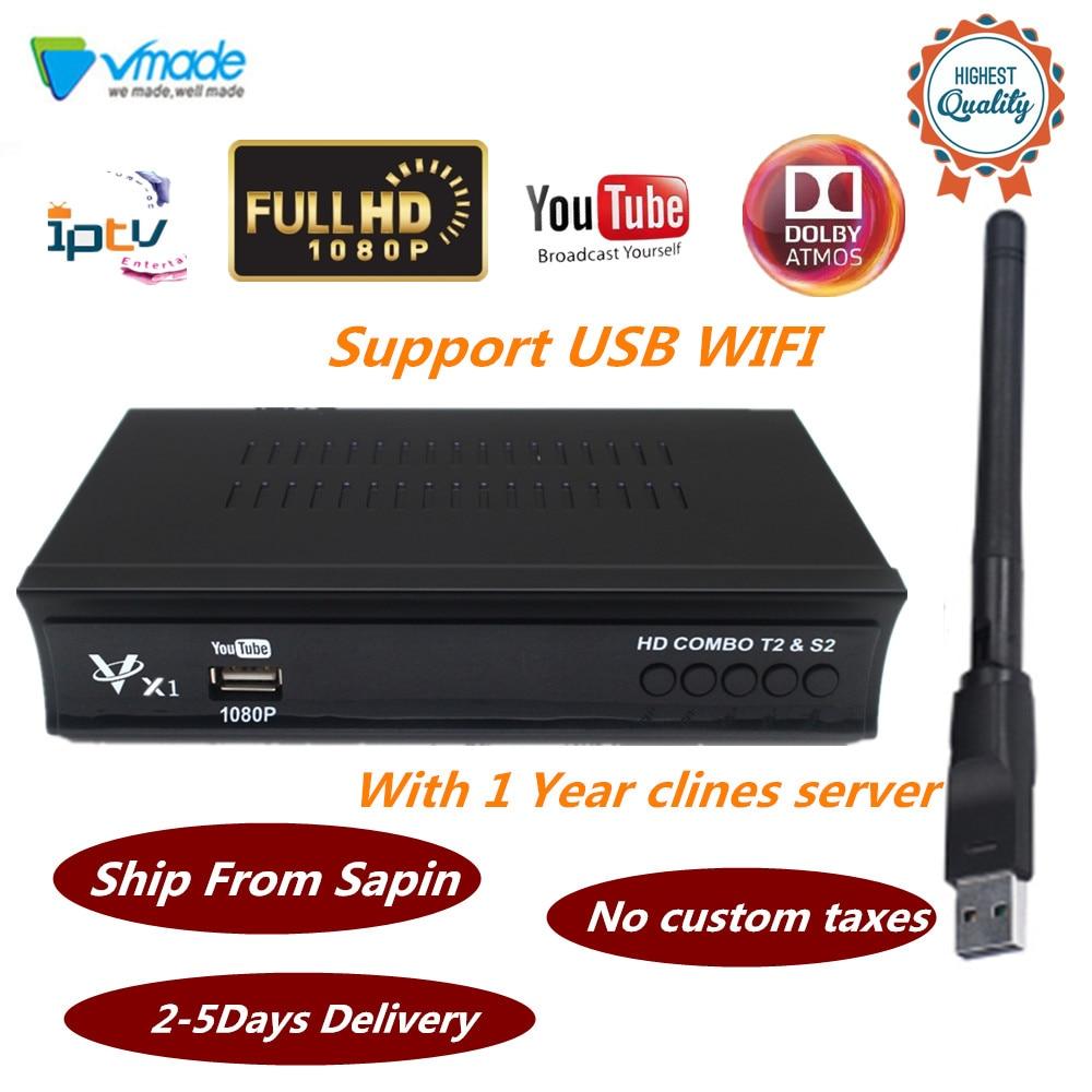 Récepteur Satellite numérique terrestre Vmade TV Dvb Combo T2 + S2 Dvb-t2 Dvb-s2 boîtier Tv IPTV Youtube H.264 prise en charge AC3 MPEG-2/4