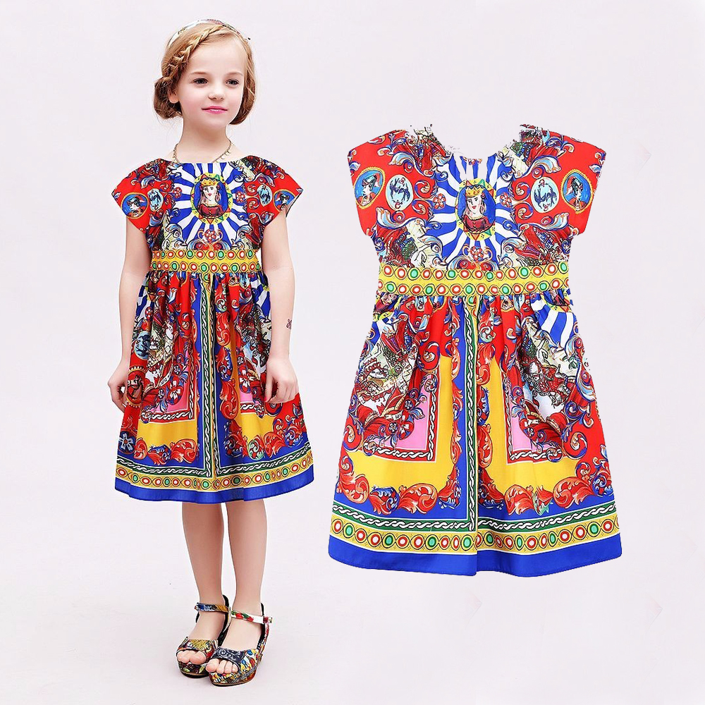 Baby Girls Dress 2015 Spring Brand Children Dress Princess Costume Carretto Siciliano Kids Dresses for Girls