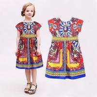 Baby Girls Dress 2015 Spring Brand Children Dress Princess Costume Carretto Siciliano Kids Dresses For