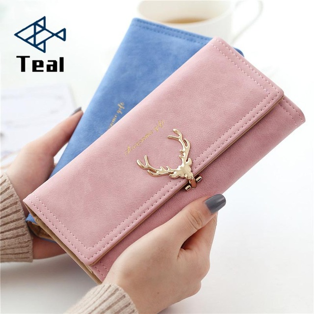 Faux  Suede Long Wallet