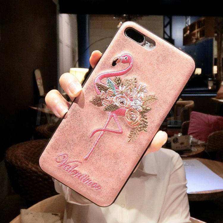 Gurioo Embroidery Flamingo animal pink style Phone Case For iPhone X 6 6S 7 8 Plus Leather Tiger Back Case Soft Cover