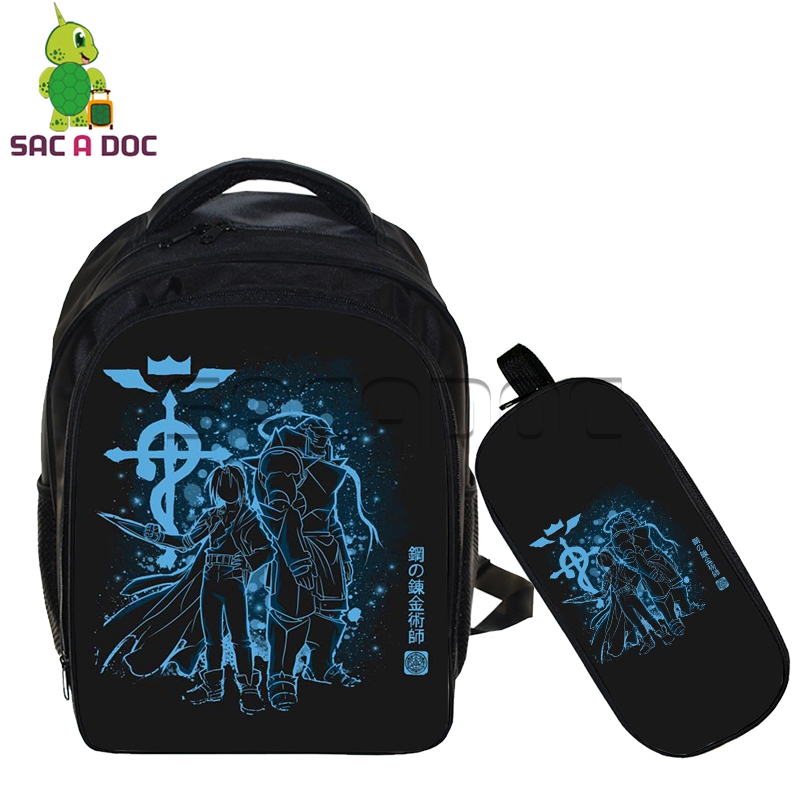 Anime Fullmetal Alchemist 2pcs Sets Backpack Children School Bags Edward Alphonse Fluorescence Kindergarten Bag for Girls BoysAnime Fullmetal Alchemist 2pcs Sets Backpack Children School Bags Edward Alphonse Fluorescence Kindergarten Bag for Girls Boys