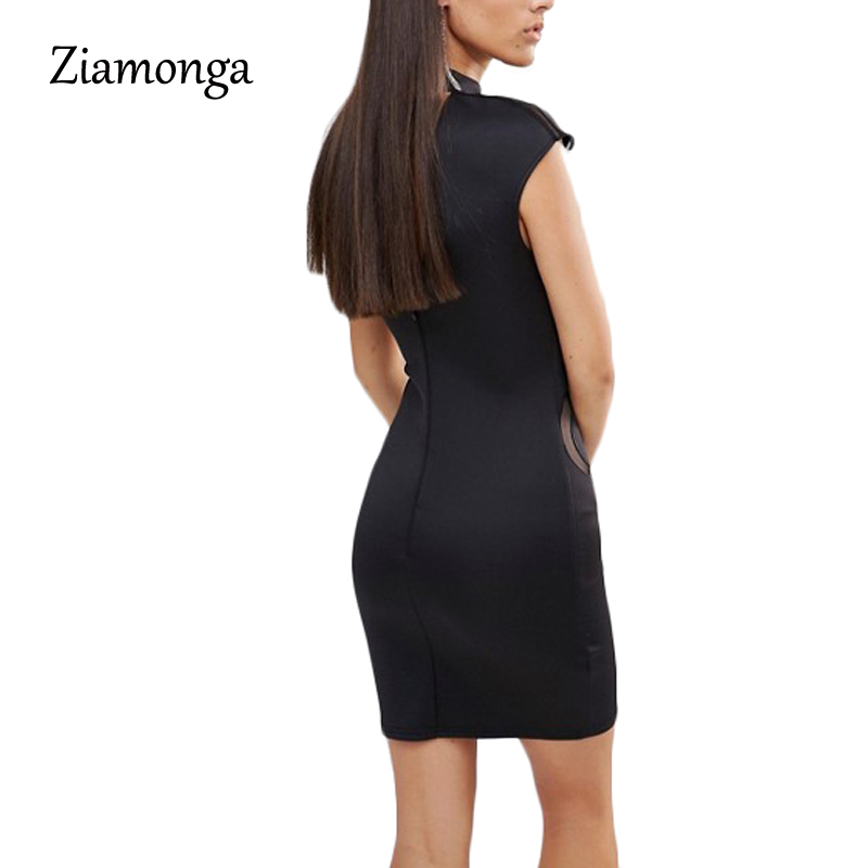 8ec55560fa0 Ziamonga Plus Size S XXL Mesh Patchwork Bodycon Dress Sexy Clubwear Black  Sequin Dresses Party Vintage Printed Bandage Dress-in Dresses from Women s  ...