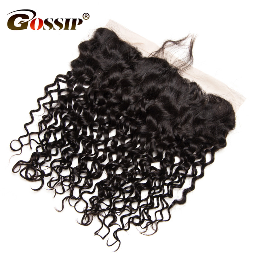 [Gossip Hair] 13*4 Water Wave Pre Plucked Lace Frontal Closure 100% Human Hair Closures Brazilian Lace Closures Curly Remy Hair