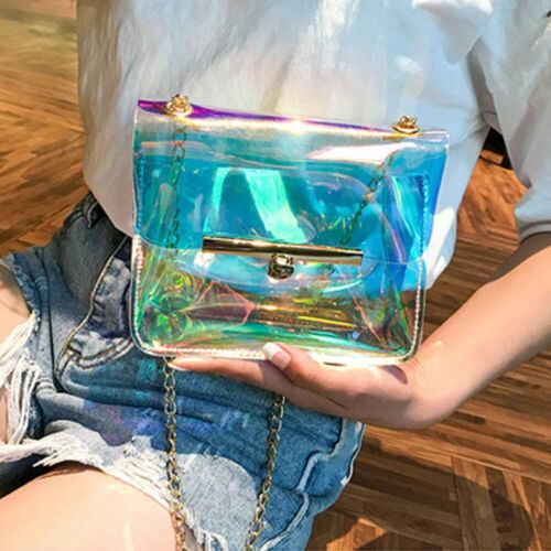 Wanita Laser Hologram Tas Bening Transparan Kecil Tote Hologram Dompet PVC Baru Mini Tas Tas