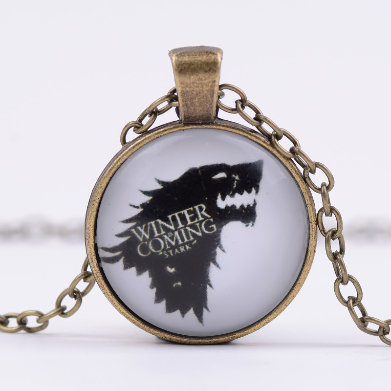 Fashion Anime Game of Thrones Star Time Gem Pendant Necklace Glass Jewelry for Men and Women 2017 Newest Jewelry Gift Souvenirs