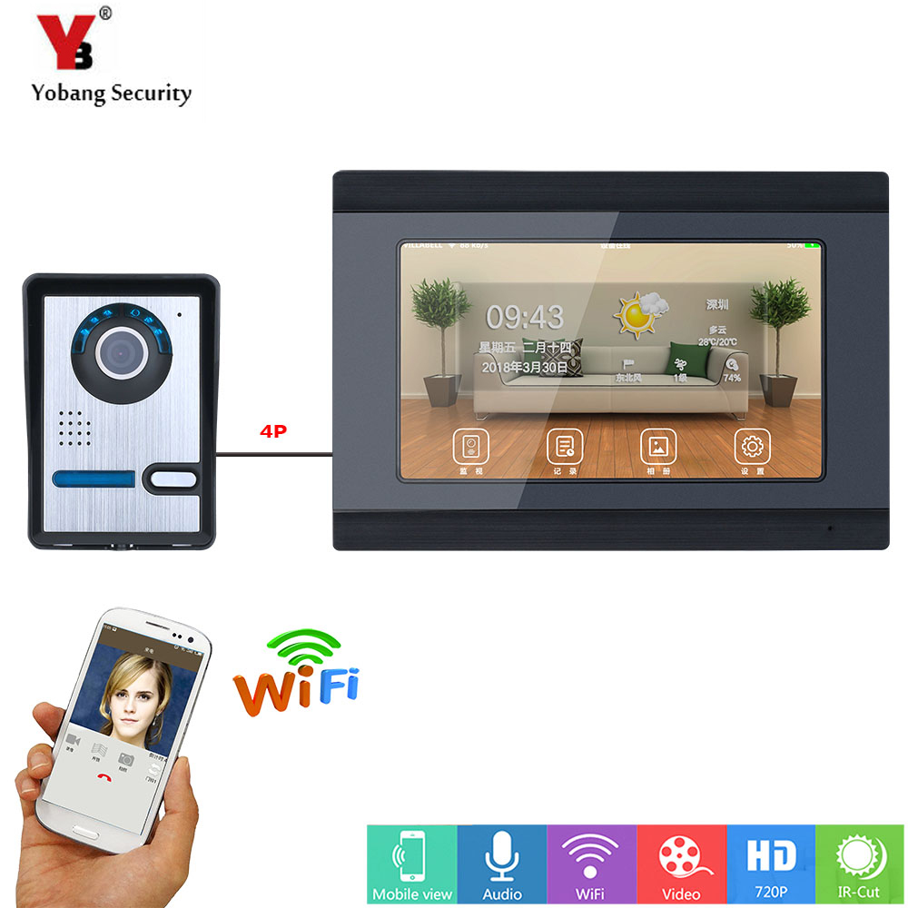YobangSecurity Video Intercom 7 Inch LCD Wifi Wireless Video Door Phone Doorbell Camera Monitor System Android IOS APP Control yobangsecurity 6 units apartment video intercom 7 inch lcd wifi wireless video door phone doorbell video recording app control