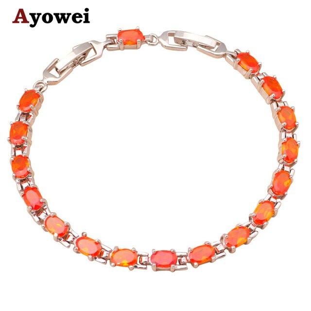 Amazing Charm Bracelets For Women Orange Crystal Aaa Zircon Silver Health Nickel Lead Free
